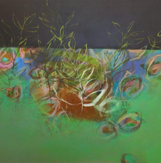 """Im Grün"" · Acryl auf Leinwand · 130 cm x 130 cm"